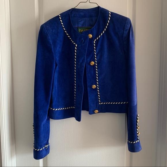 Danier Jackets & Blazers - Vintage Blue Suede Leather Blazer Jacket - xs